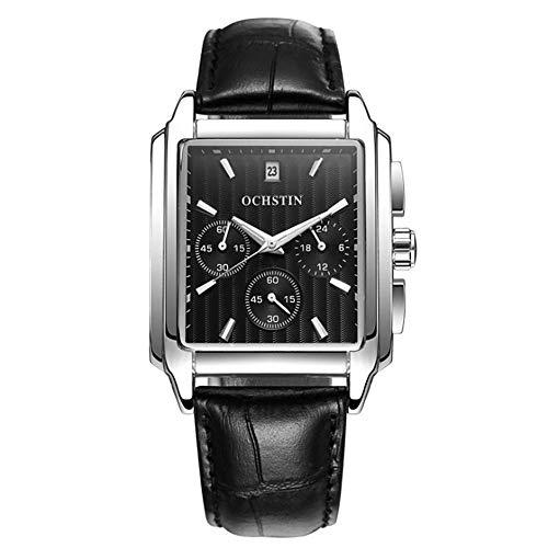 KJFB - Reloj cuadrado para hombre, para estudiantes, negocios, calendario, impermeable, función de piel, color D