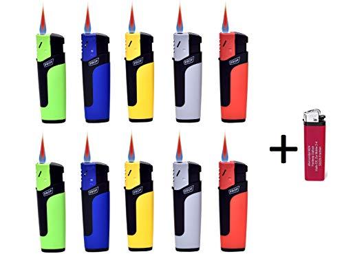Sturmfeuerzeuge Turbo Jetflame Nachfüllbar Elektronik Feuerzeuge Flameless Lighter (10) + gratis 1 x Feuerzeug