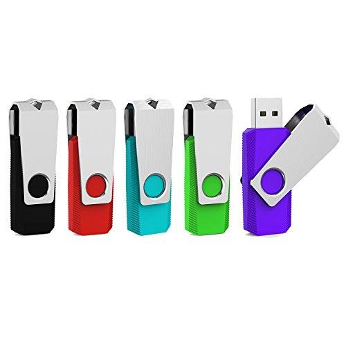 Aiibe 5 Pack 32GB Flash Drive USB Flash Drive USB 2.0 Thumb Drive Swivel U Disk Memory Stick 32 GB Multi Pack USB Drives with Led Light (32G, 5 Colors: Black Red Cyan Green Purple)