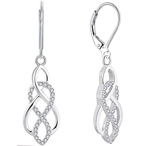 YL Celtic Knot Earrings 925 Sterling Silver Inifinity Leverback Earring 18k White Gold Twist Dangle Drop Jewelry