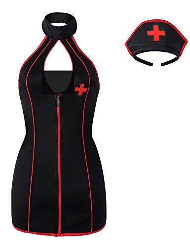XSPICE Sexy Krankenschwester Kostüm Halloween Cosplay Frauen Dessous Set mit Kopfbedeckung - Schwarz - Small / Medium