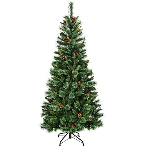 Goplus 7ft Unlit Artificial Christmas Tree, Premium Hinged Slim Tree, with Mixed Pine Needles, Cones and Metal Stand, Xmas Tree for Indoor and Outdoor Decor