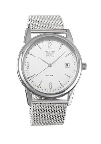Davis 1900MB - herenhorloge retro wijzerplaat wit staal datum mesh armband