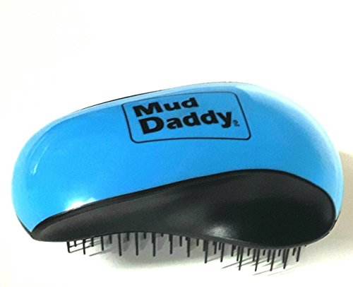 Mud Daddy Detangler and Deshedder Brush, All Coat Types, Easy Grab, Blue