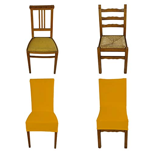 Banzaii Funda Elastica para Silla con Respaldo - Cubierta para Sillas de Oficina, Cocina, Comedor, Dormitorio, Hotel o Restaurante - 2 Piezas Made in Italy Oro
