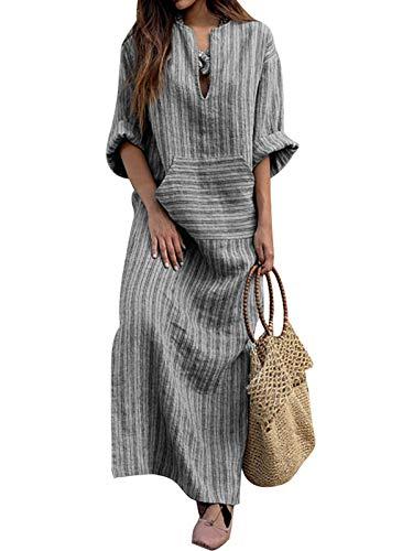 VONDA - Vestido largo de verano para mujer, con mangas 3/4, de estilo retro informal, suelto y con el cuello redondo