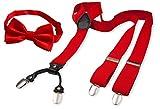 Michael Heinen Hosenträger mit Fliege - 35mm Breit Y-Form 4 starken Clips - elastisch 125cm Länge für Damen und Herren Anzug Rot