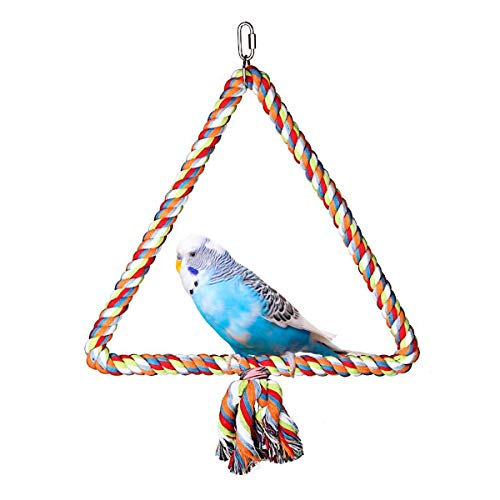 Wontee Bird Triangle Rope Swing Colorful Perch Chewing Toy for Parrots Budgie Parakeet Cockatiel...