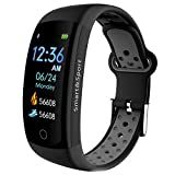 Smartwatch for Mens/Women/Kid/Heart Rate,Blood Pressure, Activity Fitness Tracker,Sleep Monitor,Wristband Smart Watches for Android Phones iPhone,Waterproof,3D ColorTouch Screen,Bluetooth Sport (Grey)