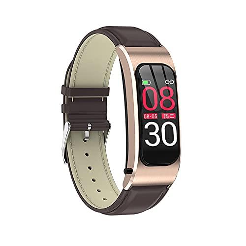 QFSLR Reloj Inteligente Ritmo Cardíaco Presión Arterial Monitoreo del Sueño Rastreador De Ejercicios Llamada Bluetooth Pulsera Inteligente Podómetro Calorías Hombres Y Mujeres Smartwatch,Oro