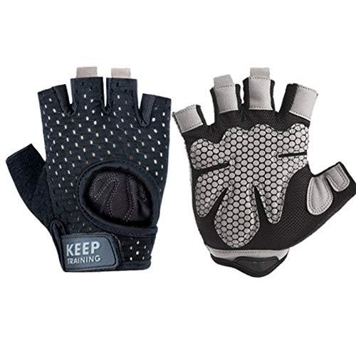 W.Z.H.H.H Handschuhe Fitnesshandschuhe rutschfeste Atmungsaktive Männer Frauen Fitness Hantel Trainingsübungen Halbfingerhandschuhe (Color : 527 Black, Size : S)