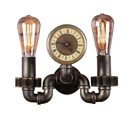 HOGREAT SMART LED Luz de pared Tubería de hierro vintage Lámpara de pared creativa Iluminación de pared retro Metal industrial Steampunk Rústico Hierro forjado Aplique Lámpara de pasillo de 2 llamas L