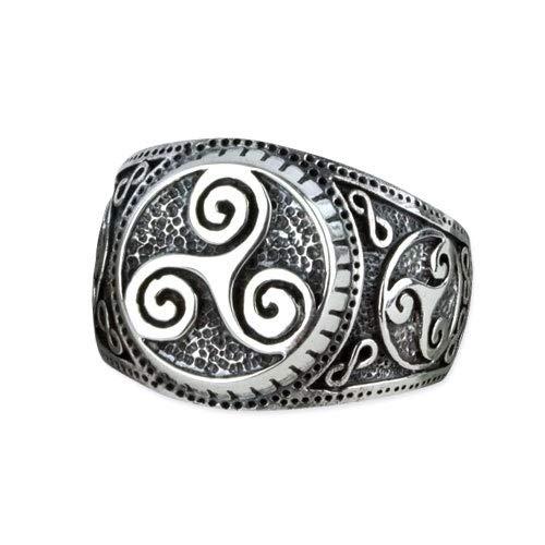 Triskele Ring keltischer Knoten Gothic Wicca Magie 925er Silber Silberring (56 (17.8))