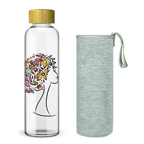 Wenburg Trinkflasche/Glasflasche mit Print und Bambus Deckel 550/750/1000 ml, Neopren Hülle. Sportflasche/Wasserflasche aus Glas. Für Unterwegs. Für Tee, Wasser, Smoothie (750 ml, Frau)