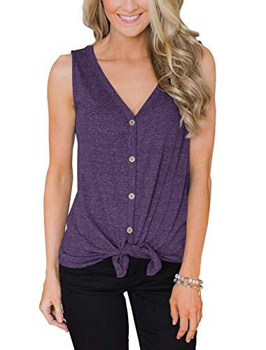 PRETTODAY Damen Sommer V-Ausschnitt Tank Tops Tie Front Button Up Ärmellose Shirts Casual Lose Blusen - violett, size: Groß