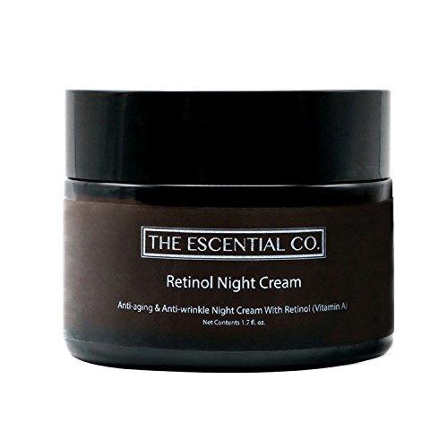 Retinol Nachtcreme – Anti-Aging und Anti-Falten Gesichtspflege Feuchtigkeitscreme mit Hyaluronsäure – Naturkosmetik Gesichtscreme und Hautpflege – Nachtcreme zur Hautstraffung – The Escential Co.
