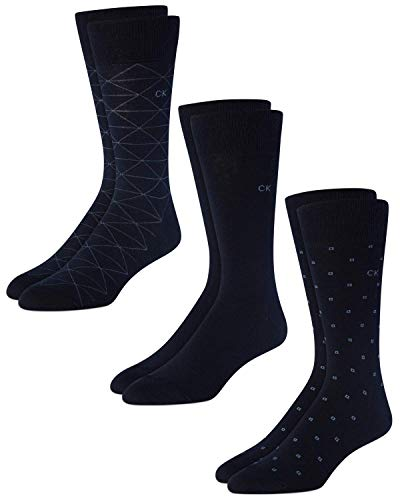 Calvin Klein Men's 3 Pack Fashion Geometric, Navy, Sock Size: 10-13/Shoe Size:9-11