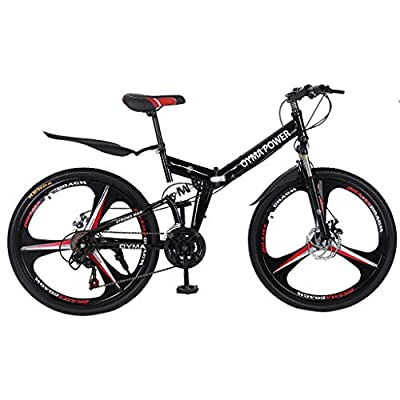 LODDD High Carbon Steel 26 Inch Folding Mountain Bike Mechanical Disc Brakes Shimanos 21 Speed Gears Bicycle Full Suspension MTB Bikes - US Stock