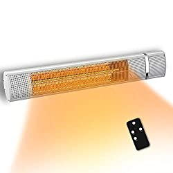 PATIOBOSS Electric Patio Heater, Infrared Heater for 3 Seconds Instant Warm, Silent Work, Electric Outdoor Heater with Gold Tube, Remote Control, Wall Mounted