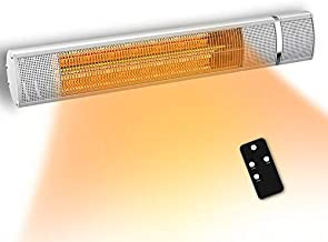 PATIOBOSS Electric Patio Heater, Wall Mounted Outdoor Heater for 3 Seconds Instant Warm, Silent Work, Infrared Heater with Heating Gold Tube (Silver)
