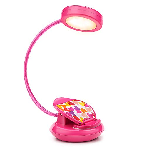 Cute Rechargeable LED Eye-Care Book Light, Clip on Reading Lights for Reading in Bed at Night, 3 Levels, 1.8oz Super Light Weight, Up to 40 Hours Reading.Perfect Gift for Bookworms and Kid(Rose Red)