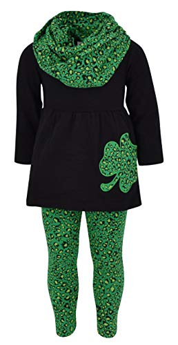 Unique Baby Girls St Patrick's Day Speckled Clovers Legging Set (2T/XS, Green)