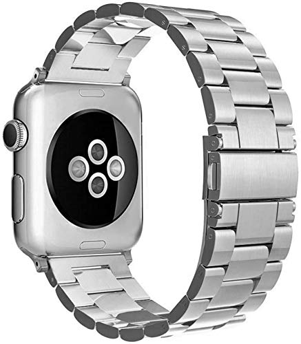 Simpeak Cinturino Compatibile per Apple Watch 42mm 44mm Inossidabile, Fibbia per Tutti i Modelli Compatibile con Apple Watch 42mm di Series 1/2/3/4/5 Versione 2015 2016 2017 2018, Argento