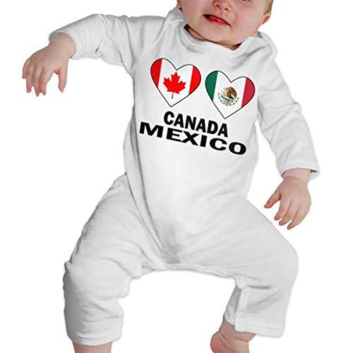 WlQshop Mono para Bebé,Mameluco Bebé Unisex Canada Mexico Hearts Baby Girls Long Sleeve Baby Girls Assorted Short Sleeve Bodies