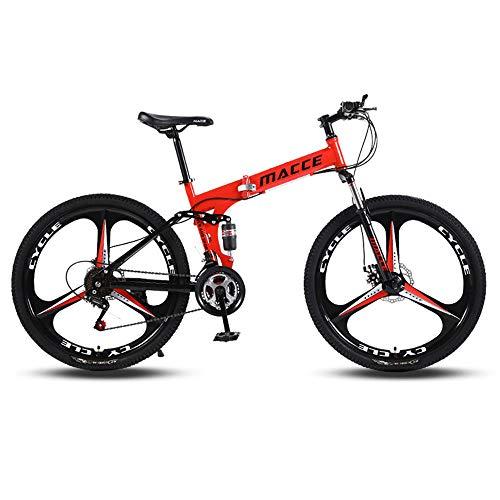 PsWzyze 24/26 Pulgadas Bicicleta,Bicicleta de montaña Plegable Ligera de 26/24 Pulgadas, pequeña Bicicleta de Carretera portátil para Estudiantes Adultos-Rojo_Rueda de radios múltiples de 24 Pulgadas