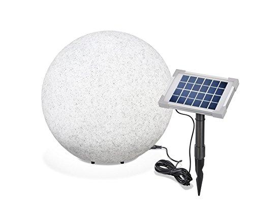 Esotec solar steinleuchtkugel mega stone 40 cm-véritable résine imitation pierre, éclairage fixe ou à lumière changeante, 8 couleurs avec 106021 chaud et froid