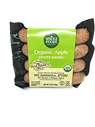Whole Foods Market, Organic Chicken Sausage, Apple (GAP - Step 3), 12 Ounce