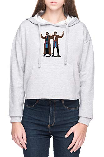 Vendax Doc Im EIN Box Tardis Liebhaber Damen Bauchfreies Crop Kapuzenpullover Sweatshirt Grau Women's Crop Hoodie Grey