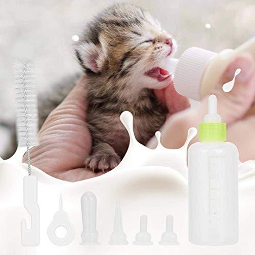 Wuudi Aufzuchtflasche 60ml Haltbares Silikon Wasser Milch Flasche Silikon Babyflasche Neugeborene Pet Kleine Hunde Welpen Katze Milch Fläschchen Milch Feeder mit Nippel Pinsel Set