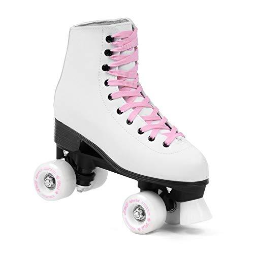 SMJ sport Damen Klassische Retro Rollschuhe | ABEC7 Kugellager | Mint Rosa Mädchen Classic Roller Skates Inliner Inlineskates | Gr. 35, 36, 37, 38, 39, 40, 41 (Weiß/Rosa, 39)