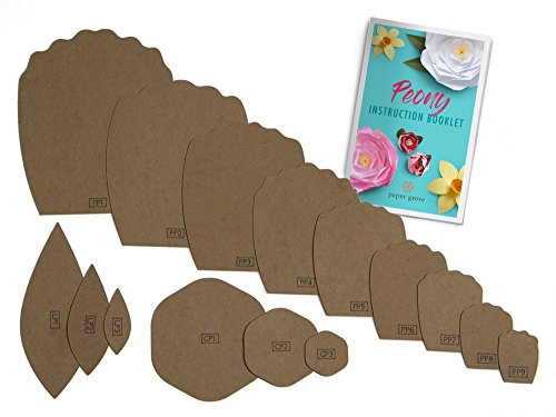 Paper Flower Template Kit, 2'-18' Peony, Leaf Templates and Instruction Book Included! DIY Wedding, Shower, Photography Backdrop (Peony)