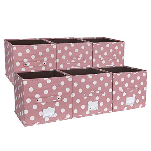 NA&CO SEASON 6 Pack Foldable Canvas Storage Bins Containers, Decorative Cube Baskets with Handles, Great Organizer Storage Boxes for Closet/Cabinet/Office/Shelf/Nursery (Purple Pink Dot)