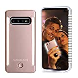 Vanjunn S10 Selfie Light up Case, LED Light up Case with 2 Sides Rechargeable Back and Front Illuminated Luminous Lights for Samsung S10(6.0 inch, Rose Gold)