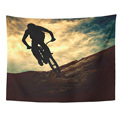 Remain Unique Tapestry Sport Silhouette of Man on Muontain Bike Sunset Adventure Mountain Bicycle Wall Hang Decor Indoor House Made in Soft