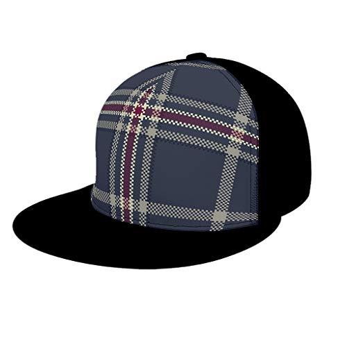 AXGM Berretto da baseball scozzese per bambini, in stile tartan classico, con visiera e berretto da baseball per tennis, golf, viaggi, nero, taglia unica
