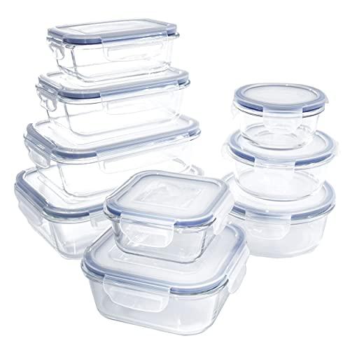 1790 Récipient En Verre, Boîtes Alimentaires, 18 pièces (9 récipients + 9 couvercles), Anti-Odeur, Sans BPA, pour four, micro-ondes, lave-vaisselle, congélateurt