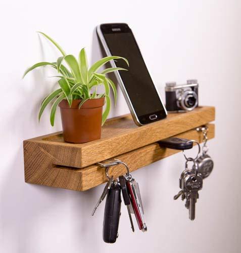 Woodkopf Schlüsselbrett, Schlüsselleiste,Schlüsselhalter, Holz in Eiche mit Ablagemulde