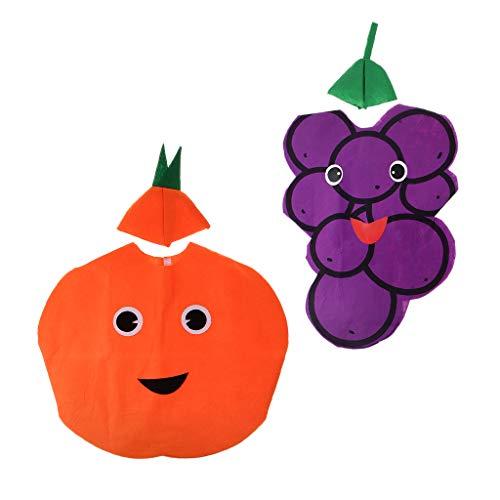 D DOLITY 2X Traje de Naranja UVA Fruta Tela No Tejida Cabritos Una Pieza Playa Ropa Accesorio Disfraz Tropical