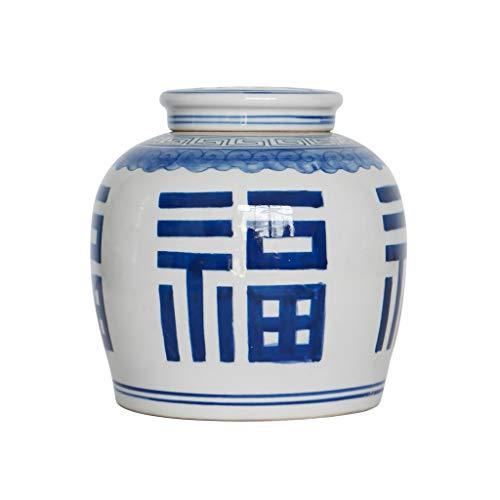Pan&Pan Estilo Antiguo Azul y Blanco de Porcelana Felicidad Frasco tapado florero de cerámica, China Ming Estilo, Hecho a Mano de Jingdezhen (Color : A)