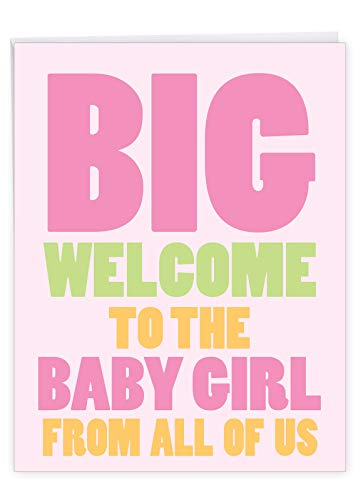 NobleWorks, New Baby Girl - Big Newborn Baby Greeting Card (8.5 x 11 Inch) - Big Bold Letters, Group Baby Shower Card J6855BBG-US