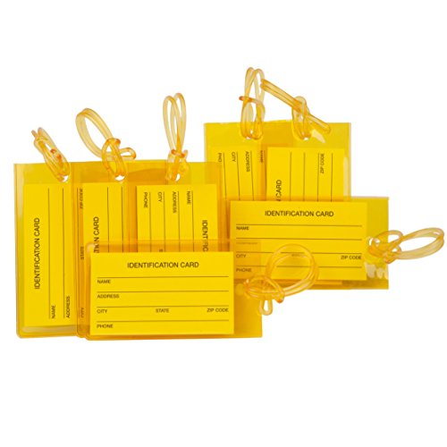7 Pack TravelMore Luggage Tags For Suitcases, Flexible Silicone Travel ID Identification Labels Set For Bags & Baggage – Yellow