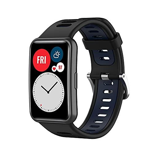 TopTen Correa de reloj compatible con correa HUAWEI WATCH Fit, pulsera de silicona colorida Accesorios de repuesto Pulsera ajustable (negro/azul)