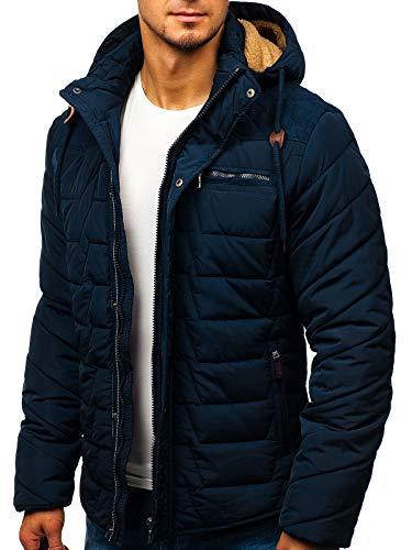 BOLF Hombre Chaqueta Acolchada De Invierno con Capucha Cierre de Cremallera y Velcros Cuello Elevado Ropa de Abrigo Estilo Diario Extreme 1673 Azul Oscuro L [4D4]