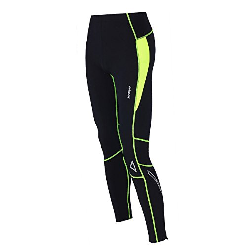 Airtracks Thermo FUNKTIONS Laufhose PRO-T/Running Tight/Thermohose/Reflektoren - LANG - schwarz-neon - XXL