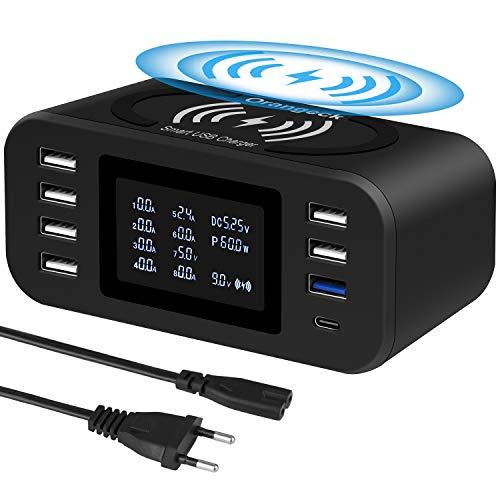 Orangeck Estación de Carga USB Cargador con 8 Puertos(Una QC3.0 y Un Type-C), 10W Rápido Cargador Inalambrico, Charging Station con LDE Pantalla Base de Carga para iPhone Samsungs Huawei y ipads