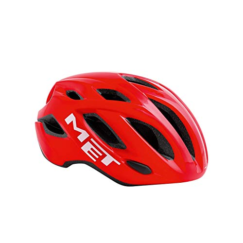 MET Idolo Casco de Ciclismo, Unisex Adulto, Rojo/Blanco, 52-59 cm
